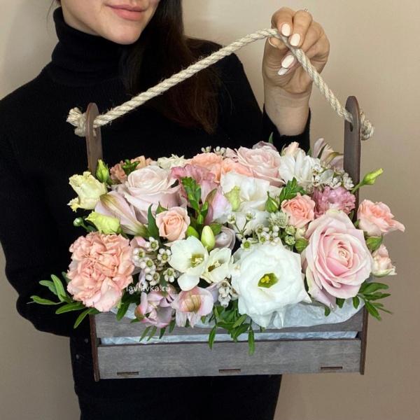 Композиция в ящике №5, цветы в черном ящике, цветы в ящике, черный ящик, ящик,