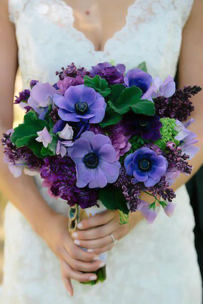 Букет невесты №1, анемон, анемон синий, букет невесты, голландская сирень, лагурус, синий анемон, сирень, целлозия,