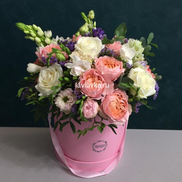 Букет в шляпной коробке №3, букет в коробке, букет в шляпной коробке, цветы в коробке, цветы в шляпной коробке, шляпная коробка,