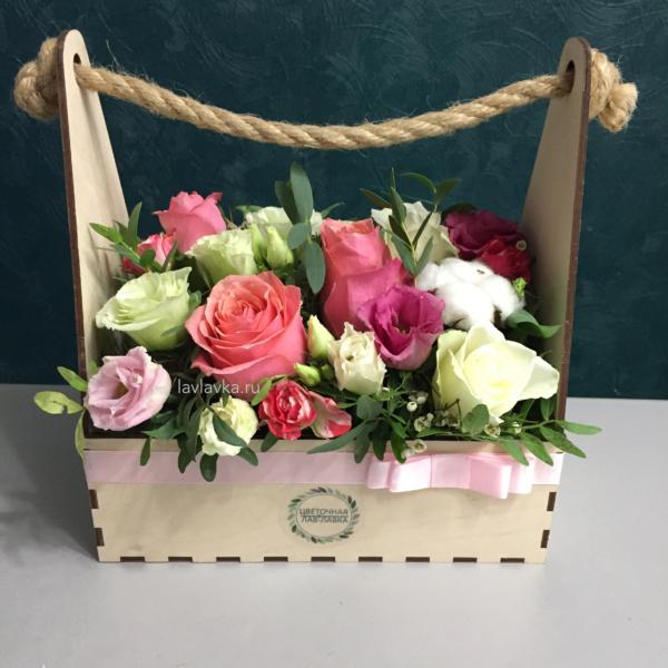 Композиция в ящике №8, цветы в ящике,