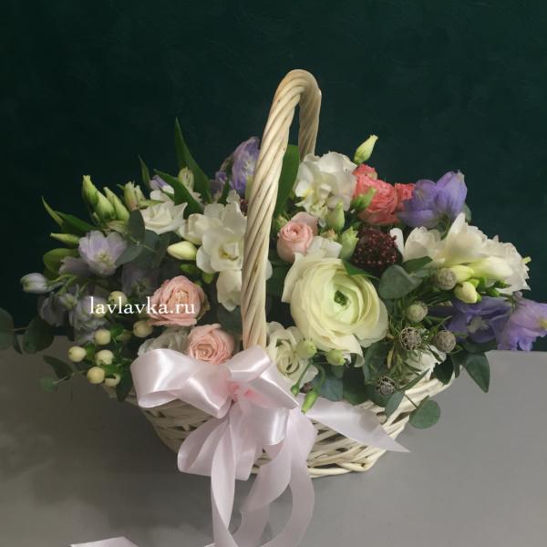 Цветочная композиция №6, цветы в корзине,