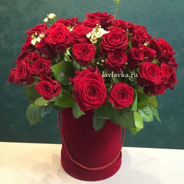 Букет в шляпной коробке №9, букет в коробке, красные розы, красные розы в коробке, роза, розы в коробке, розы в шляпной коробке, цветы в коробке, шляпная коробка,
