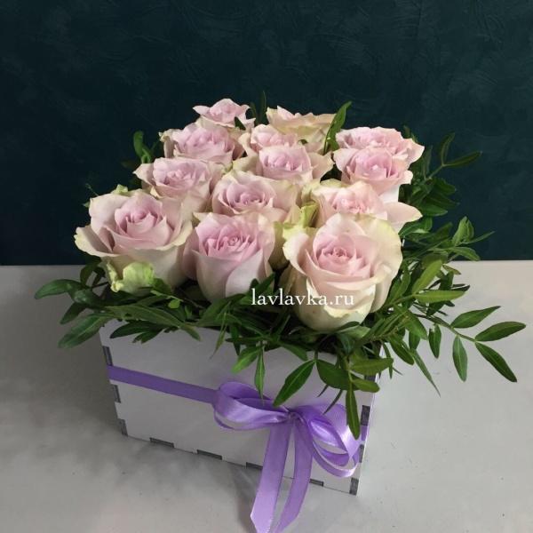 Композиция в ящике №2, букет в коробке, букет в ящмке, розовые розы, розы, розы в коробке, розы в ящике, цветы в деревянном ящике, цветы в коробке, цветы в ящике, ящик,
