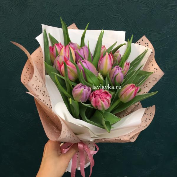 Букет №48, 15 тюльпанов, букет из тюльпанов, тюльпаны,