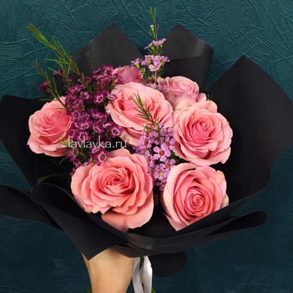 Букет №51, роза, розовые розы, розы, хамелация, черная упаковка,