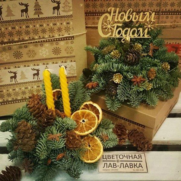 Новогодняя композиция №1, нобилис, свеча, топпер, шишки,