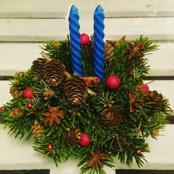 Новогодняя композиция №4, корпоративные подарки, нобилис, новогодний декор, новогодняя композиция, свеча, шишки,