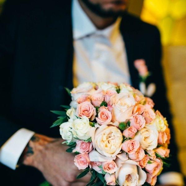 Букет невесты №17, кустовая пионовидная роза, пионовидная роза, роза, роза дэвид остин, роза кустовая,