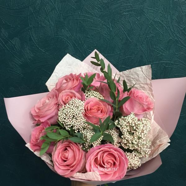 Букет №95, букет, букет из 11 роз, озотамнус, роза, розовые розы, розовый букет, розы, эвкалипт,
