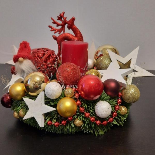 Новогодняя композиция №15, декор, нобилис, новогоднее настроение, новогоднее оформление, новогоднее оформление офиса, новогоднее украшение для дома, новогодние шары, новогодний букет, новогодний венок, новогодний подарок, новогодний подсвечник, Новогодняч композиция на стол, новогодняя композиция, новогодняя композиция для офиса, новогодняя композиция на камин, подсвечник, рождественская композиция, рождественский венок,