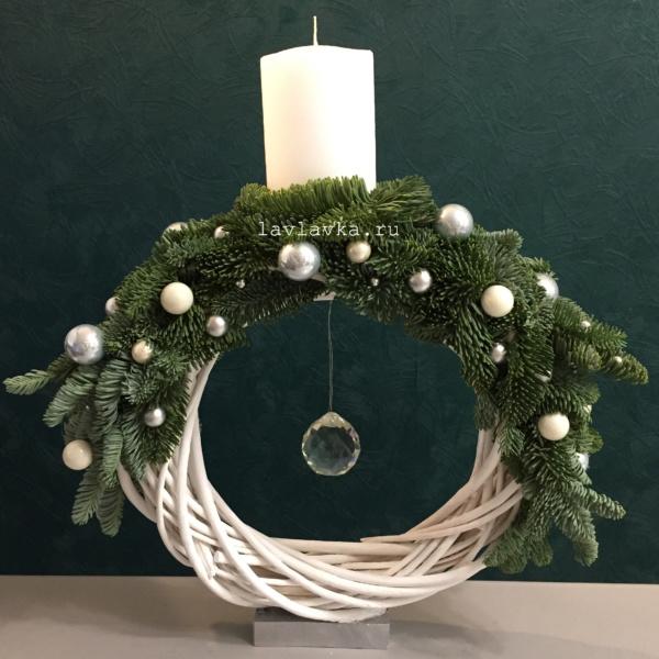 Новогодняя композиция №34, нобилис, новогоднее украшение, новогодние венки, новогодние композиции, новогодние свечи, новогодний подсвечник, новогодняя композиция, новогодняя композиция со свечами, подсвечник, свеча, свечи, серебро,