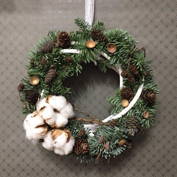 Новогодний венок №9, венок, венок из нобилиса, нобилис, новогодний венок, новогодний декор, рождественский венок, хлопок, шишки,