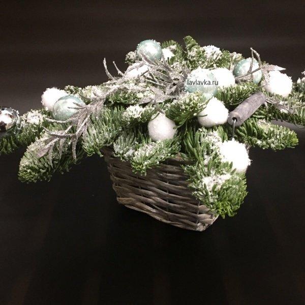 Новогодняя композиция №15, декор, нобилис, новогодние шары, новогодний букет, новогодняя композиция,