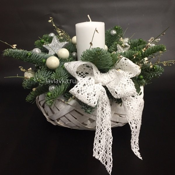 Новогодняя композиция №17, звезды, композиция со свечей, нобилис, новогодние свечи, новогодние шары, новогодняя композиция, свечи,