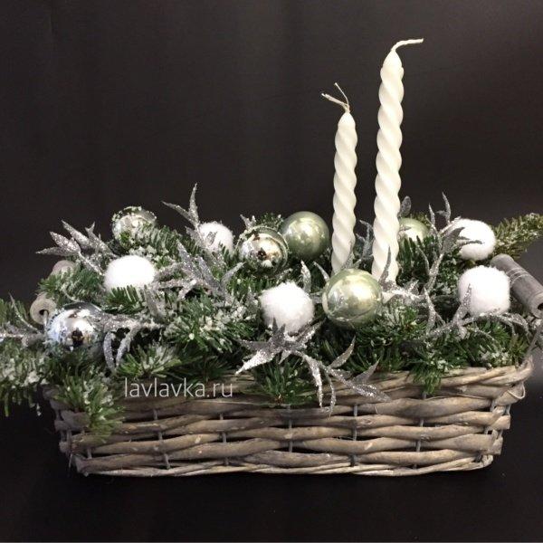 Новогодняя композиция №20, новогодние шары, новогодний подсвечник, новогодняя ель, новогодняя композиция, подсвечник, хлопок,