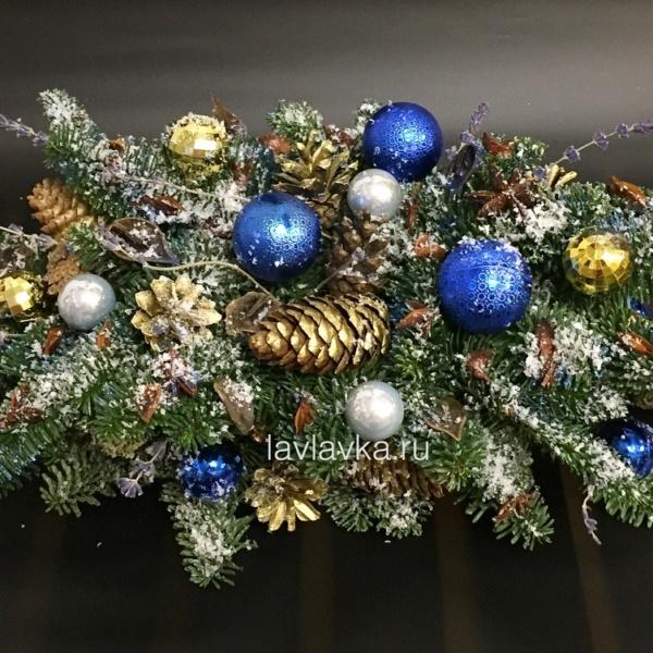 Новогодняя композиция №27, венок, композиция, корпоративные подарки, нобилис, новогодние композиции, новогодний декор, шары, шишки,