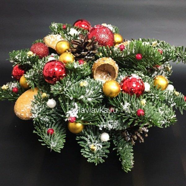 Новогодняя композиция №33, композиция с елью, композиция с нобилисом, нобилис, новогоднее украшение, новогодние композиции, новогодние шары, новогодний декор для дома, новогодняя композиция, новогодняя композиция на стол, свечи, шары,