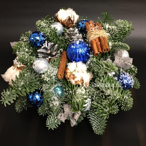 Новогодняя композиция №30, нобилис, новогодние композиции, новогодние шары, новогодняя композиция, свечи, шары, шишки,