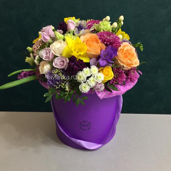 Букет в шляпной коробке №16, букет в коробке, букет в шляпной коробке, цветы в коробке, цветы в шляпной коробке,