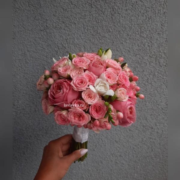 Букет невесты №28, Букет для невесты, букет невсты, нежный букет невесты, пионовидная роза, Розовый букет невесты, свадебный букет,