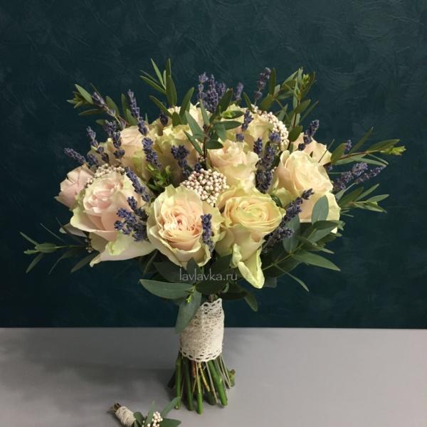 Букет невесты №30, лаванда, озотамнус, роза, роза пинк мондиаль, эвкалипт,