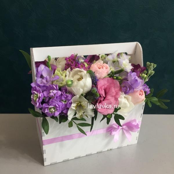 Композиция в ящике №18, цветы в ящике,