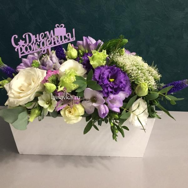 Композиция в ящике №22, букет в деревянном ящике, букет в ящике, цветочная композиция в ящике, цветы в деревянном ящике, цветы в ящике,