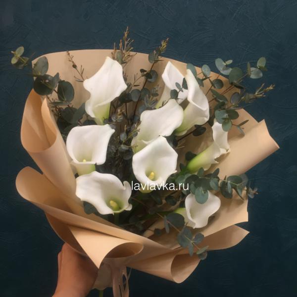 Букет №126, белая упаковка, белые каллы, букет на 14 февраля, букет на 8 марта, букет с белыми каллами, букет с каллами, ваксфлауэр, калла, каллы, хамелациум, цветы на 14 февраля, цветы на 8 марта, эвкалипт цинарея,