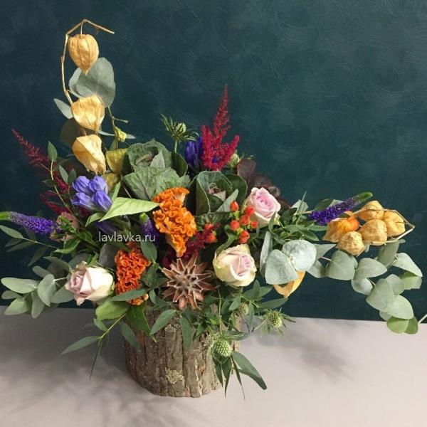 Цветочная композиция №22, астильба, брасика, вероника синяя, гентиана блау, композиция в коре дерева, кора дерева, мужской букет, осенняя композиция, роза сиреневая, физалис, хиперикум, целозия, эвкалипт, эрингиум зеленый,