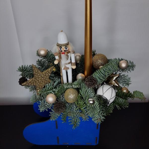 Новогодняя композиция №62, зимняя композиция, композиция, новогодние композиции, новогодний декор, новогодний подарок, Новогодний подарок мужчине, новогодний подсвечник, новогодняя композиция в офис, рождественская композиция,