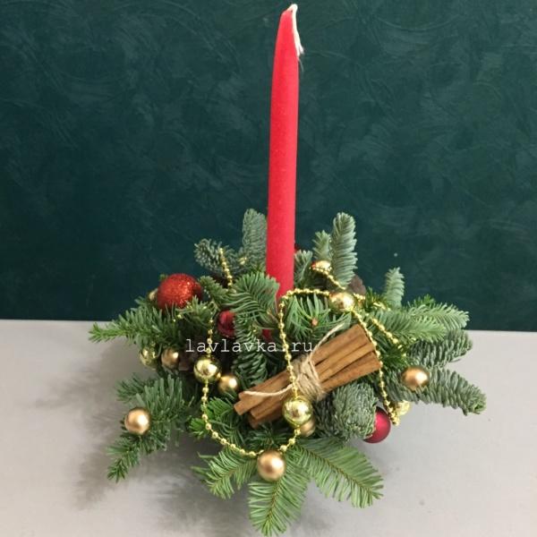Новогодняя композиция №49, новогодние подарки, новогодний букет, новогодний декор, новогодний декор для дома, новогодний декор для офиса, новогодний подарок, новогодний подсвечнипк, новогодняя композиция,