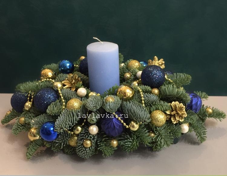 Новогодняя композиция №61, зимняя композиция, композиция на стол, композиция со свечами, новогодня композиция, новогодняя композиция на стол, президиумная композиция, рождественская композиция,