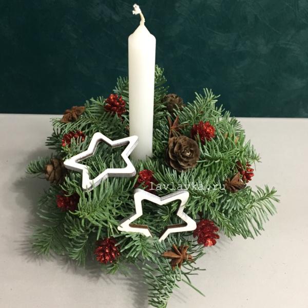Новогодняя композиция №44, композиция со свечами, корпоративный букет, новогоднее украшение, новогодние венки, новогодние композиции, новогодние подарки, новогодний букет, новогодняя композиция, новогодняя композиция на стол, новогодняя композиция со свечей,