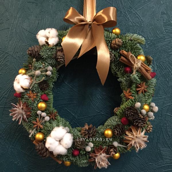 Новогодний венок №14, венок, венок с елью, новогоднее украшение, новогоднее украшение на дверь, новогодние венки, новогодние венки из ели, новогодний венок, новогодний декор для дома, новогодний подарок, новый год, рождественский венок,