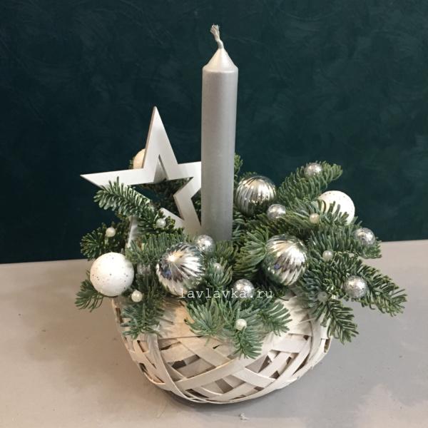Новогодняя композиция №58, композиция на стол, композиция со свечей, корпоративные подарки, корпоративные подарки на новый год, новогодние композиции, новогодний подарок, новогодний подсвечник, новогодняя композиция, новогодняя композиция на стол, подсвечник, рождественская композиция, серебристая композиция,