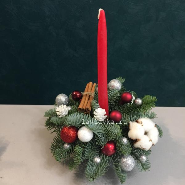Новогодняя композиция №65, композиция на стол, новогодний подсвечник, новогодний стол, новогодняя композиция, новогодняя композиция на стол, новогодняя композиция со свечей,