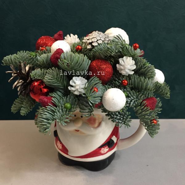 Новогодняя композиция №67, дед моро, композиция в чашке, композиция на стол, композиция с елью, красно-белая композиция, нобилис, новогоднее оформление, новогоднее украшение, новогоднее украшение для дома, новогодние подарки, новогодний декор, новогодний подарок, новогодний подсвечник, новогодняя композиция, новогодняя композиция в чашке, новогодняя композиция на стол, новый год,