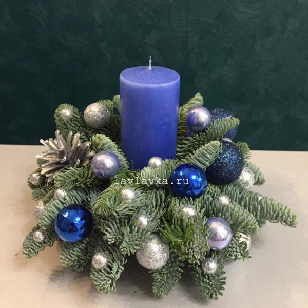 Новогодняя композиция №68, новогоднеенастроение, новогодние композиции, новогодние композиции со свечами, новогодние свечи, новогодний подсвечник, новогодняя композиция на стол, новогодняя композиция со свечей, подсвечник, свечи, серебристая композиция,