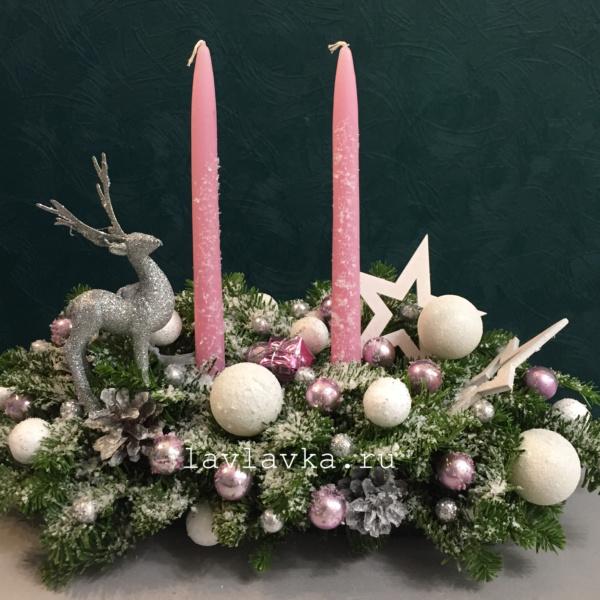 Новогодняя композиция №59, композиция на стол, композиция со свечами, корпоративные подарки, новогоднее украшение, новогодняя композиция, новогодняя композиция на камин, новогодняя композиция на стол, новогодняя композиция с елью, новогодняя композиция со свечами, новогодняя президиумная композиция, олень, президиумная композиция, пудровая композиция, розовая композиция,
