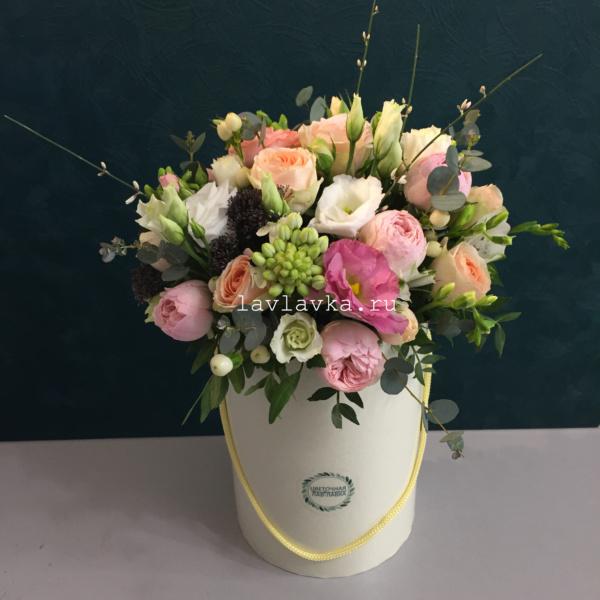 Букет в шляпной коробке №35, букет, букет в шляпной коробке, букет коробке, цветы в коробке, цветы в шляпной коробке,