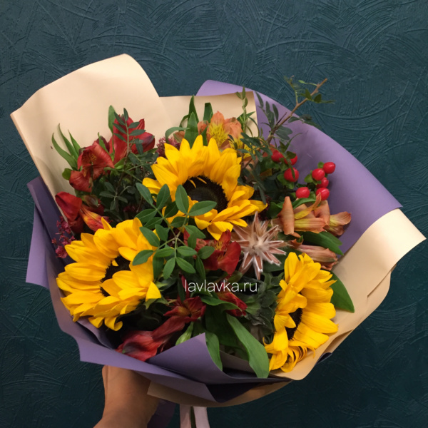 Букет №143, букет для учителя, букет на 1 сентября, букет учителю, осенний букет, цветы учителю,