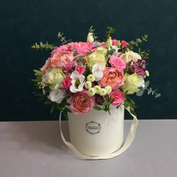 Букет в шляпной коробке №39, букет в коробке, букет в шляпной коробке, купить букет спб, цветы в коробке, цветы в шляпной коробке, цветы в шляпной коробке спб,