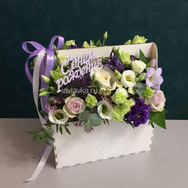 Композиция в ящике №24, букет в деревянном ящике, букет в ящике, день рождения, композиция в ящике, сиреневый букет, цветочная композиция в ящике, цветы в деревянном ящике, цветы в ящике, цветы в ящике спб,