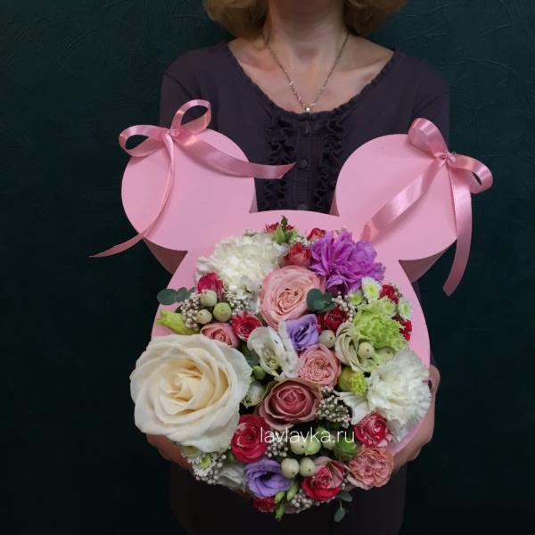 Цветочная композиция №25, букет для дочки, микки маус, цветочная композиция, цветы в форме микки мауса, цветы для девочки, цветы для дочки,