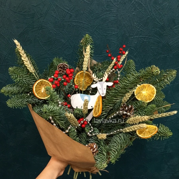 Новогодняя композиция №80, корпоративные новогодние подарки, корпоративный новогодний букет, новогдний подарок, новогоднее украшение, новогодние композиции, новогодний букет,