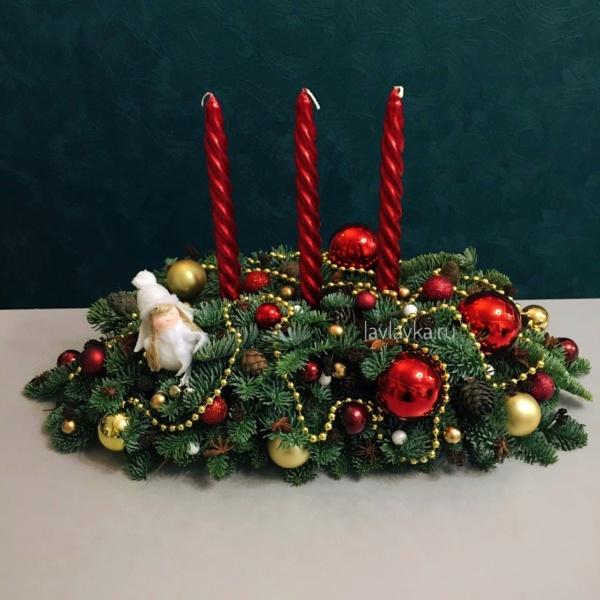 Новогодняя композиция №71, купить новогодний подарок, новогодние композиции, новогодние композиции со свечами, новогодний букет, новогодний декор, новогодняя композиция, новогодняя композиция спб, рождественский венок,