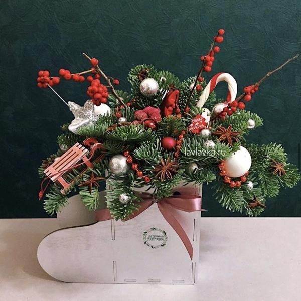 Новогодняя композиция №74, корпоративные новогодние подарки, купить новогодний подарок, новогоднее настроение, новогоднее оформление, новогоднее оформление офиса, новогоднее украшение, новогоднее украшение для дома, новогодние композиции, новогодние корпоративные подарки, новогодний декор для офиса, новогодний подарок спб, новогодняя композиция, новогодняя композиция в сапожке,