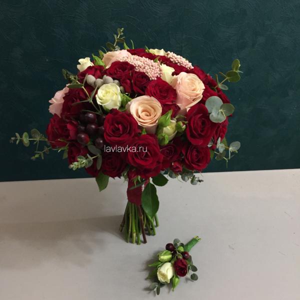 Букет невесты №40, букет в винных тонах, букет невесты, винный букет, свадебный букет, свадебный букет с розами,