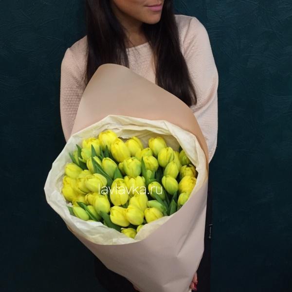 Букет №144, 51 тюльпан, букет из 51 тюльпана, букет из тюльпанов, желтые тюльпаны, тюльпан, тюльпаны,