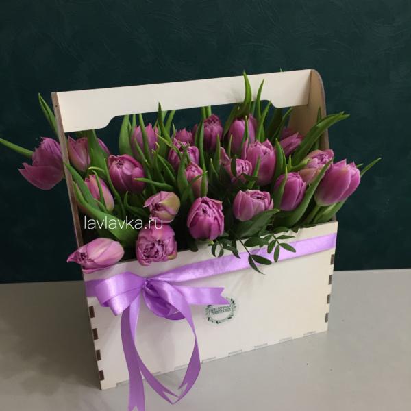Композиция в ящике №25, 101 тюльпан в коробке, букет с тюльпанами, сиреневые тюльпаны, тюльпаны в коробке, тюльпаны в ящике,